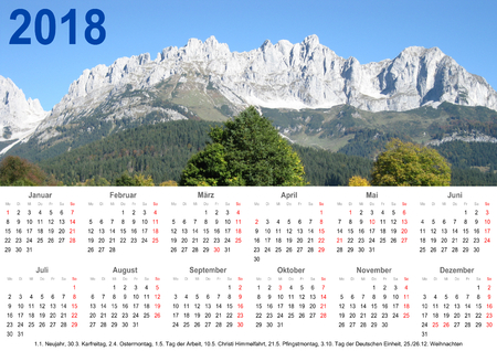 Annual calendar 2018 with mountain landscape above and public holiday markings and listing below for Germany Imagens