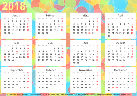Calendar 2018 background with colorful circles, each month on white squares and with public holidays for Germany