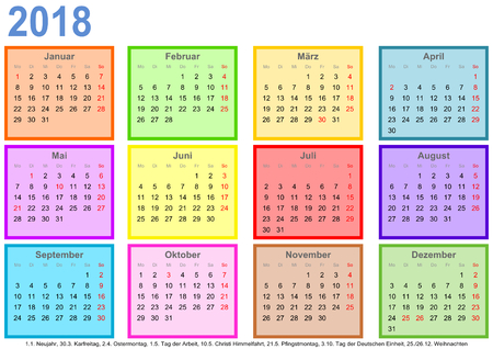Calendar 2018, each month in a differently colored square and markings of public holidays for Germany in a landscape format Ilustração
