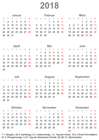 Simple calendar 2018 - one year at a glance - starts Monday with public holidays for Germany in a portrait format