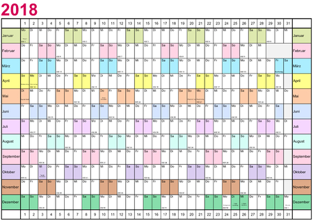 Year Planner 2018 linearly with public holidays for Germany and each month in different bright colors