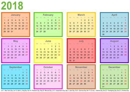 カレンダー 2018、別様に着色された正方形および景色フォーマットでは、アメリカの祝日のマーキング毎月