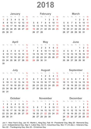 シンプル カレンダー一目 - 2018-1 年間肖像画の形式では、アメリカの祝日と月曜日を開始します。  イラスト・ベクター素材