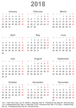 Simple calendar 2018 - one year at a glance - starts Monday with public holidays for the USA in a portrait format Vectores