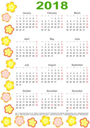 マーキングと色とりどりの花で縁取られたアメリカの祝日の一覧カレンダー 2018