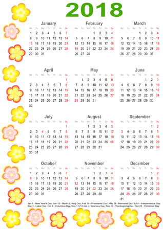 Calendar 2018 with markings and a list of public holidays for the USA edged with colorful flowers Illustration