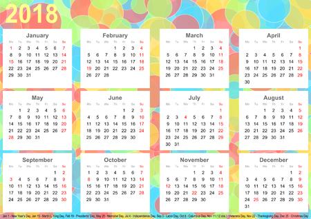 カラフルなサークル、白の正方形で毎月とアメリカの祝日カレンダー 2018年背景