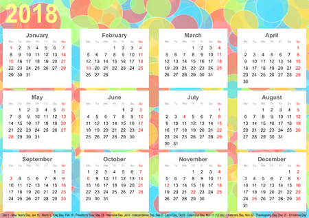 Calendar 2018 background with colorful circles, each month on white squares and with public holidays for the USA