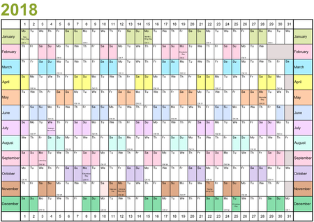 Year Planner 2018 linearly with public holidays for the USA and each month in different bright colors