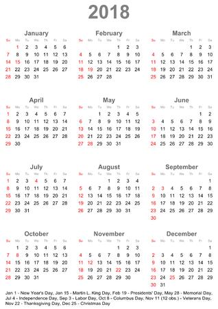 簡単な暦 2018 は、米国の公式の休日でマーク。今週は日曜日に開始します。  イラスト・ベクター素材