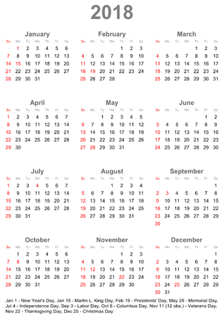 Simple calendar 2018 marked with the official holidays for the USA. The week starts on sunday.