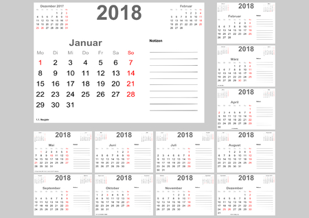 Calendar 2018 for Germany with holidays, room for notes and above with previous and following month. Ilustração
