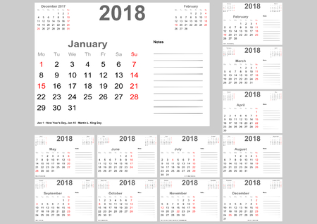 Calendar 2018 for USA with holidays, room for notes and above with previous and following month. Set of 12 separated months. Week starts Monday.