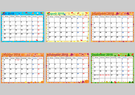 Colorful calendar 2018 for Germany with public holidays. Set of 6 separated months July to December, vector, weekstarts Monday.