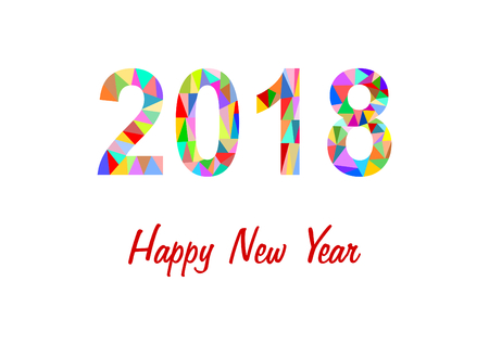 2018 made of colorful triangles on white background with lettering Happy New Year