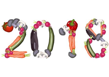 2018 single numbers made of various vegetables on a white background in a landscape format Ilustração