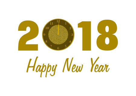 2018 in golden numbers with a clock instead of 0 and Happy New Year lettering below on white background in a landscape format