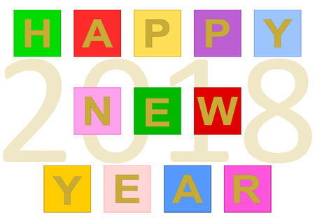 Colorful lettering ? ? ?Happy New Year? ? ? build with colorful buttons and the date 2018 in large numbers in the background. Vector in a landscape format.