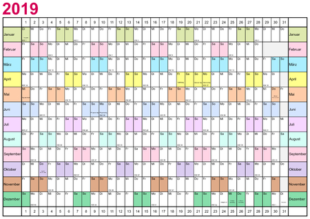 Year Planner 2019 linearly with public holidays for Germany and each month in different bright colors
