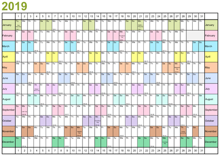 Year Planner 2019 linearly with public holidays for the USA and each month in different bright colors