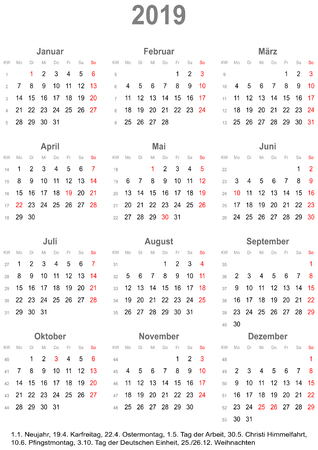 Simple calendar 2019 - one year at a glance - starts Monday with public holidays for Germany in a portrait format