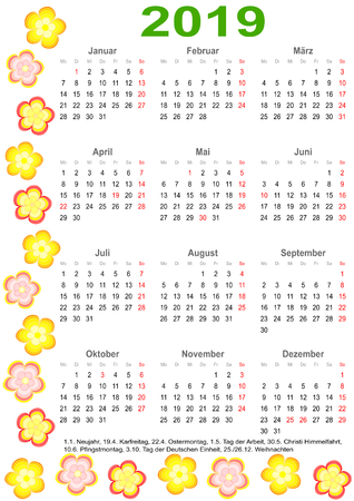 Calendar 2019 with markings and a list of public holidays for Germany edged with colorful flowers