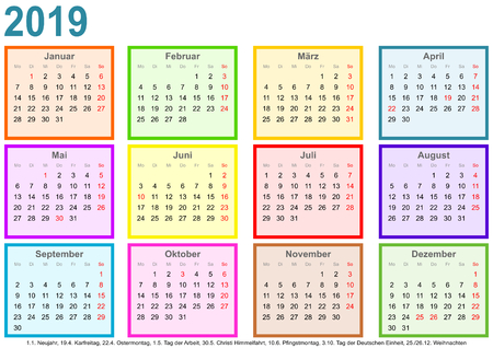 Calendar 2019, each month in a differently colored square and markings of public holidays for Germany in a landscape format