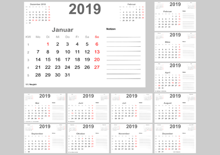 Calendar 2019 for Germany with holidays, room for notes and above with previous and following month. Set of 12 separated months. Week starts Monday.