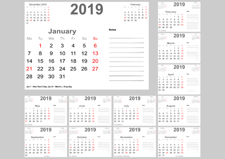 Calendar 2019 for USA with holidays, room for notes and above with previous and following month. Set of 12 separated months. Week starts Monday.