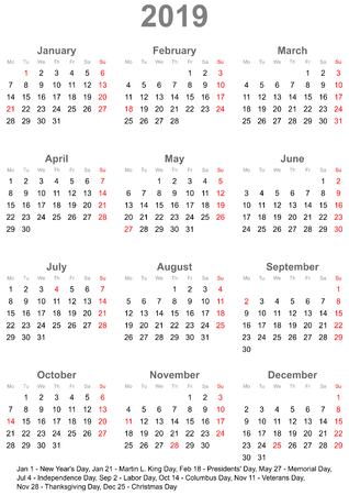 Simple calendar 2019 - one year at a glance - starts Monday with public holidays for the USA in a portrait format