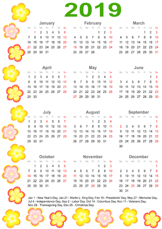 Calendar 2019 with markings and a list of public holidays for the USA edged with colorful flowers