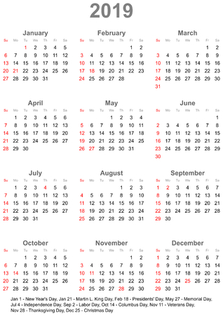 Simple calendar 2019 marked with the official holidays for the USA. The week starts on sunday.