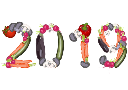 2019 single numbers made of various vegetables on a white background in a landscape format