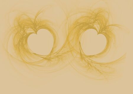 Two golden flame hearts on golden background