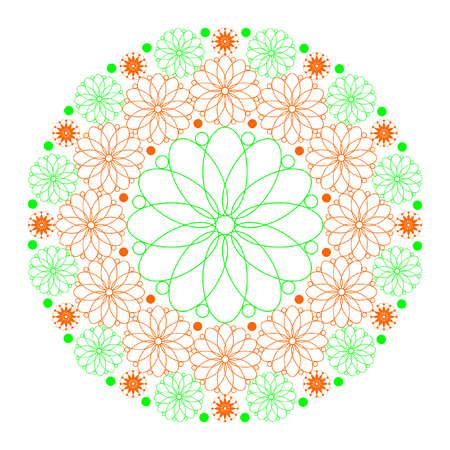 Mandala of flowers in orange and green on a white background in square format