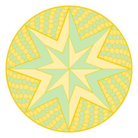 Mandala - star in orange and green on white background in square format