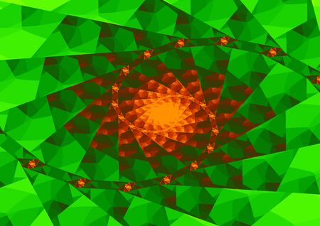 Abstract orange spiral of triangles on green triangular pattern in landscape format Stok Fotoğraf