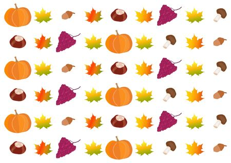 Pattern of autumnalfall fruits and colorful leaves on white background in landscape format