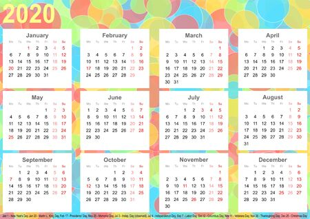 Calendar 2020 background with colorful circles, each month on white squares and with public holidays for the USA