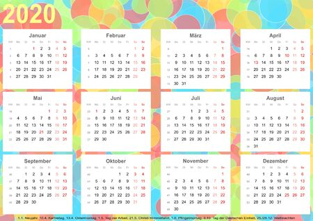 Calendar 2020 background with colorful circles, each month on white squares and with public holidays for Germany