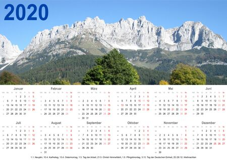 Annual calendar 2020 with mountain landscape above and public holiday markings and listing below for Germany