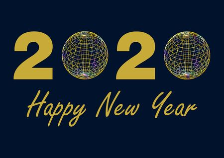 Date 2020 in gold, with the zeros replaced by colorful wire balls on a dark blue background. Below the date written in gold the lettering