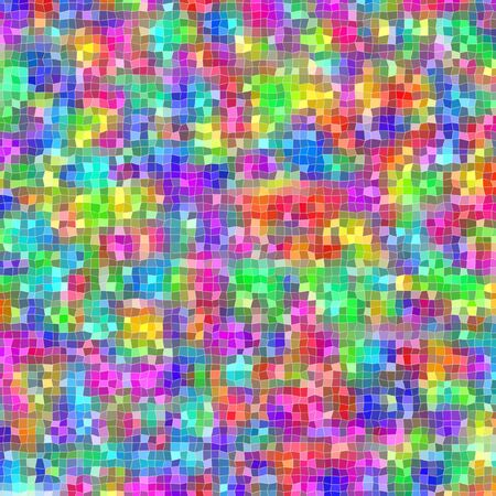 Mosaic of irregular small squares in different bright colors in square format