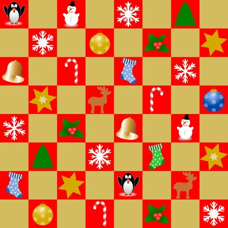 Mosaic of red and gold squares. The red squares are decorated with different Christmas symbols. In square format.