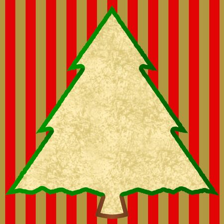 Outline of a christmas tree with a beige patterned large text field on red and gold stripes in a square format Stok Fotoğraf - 132121653