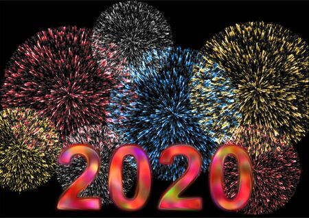 Colorful 2020 with firework on black in the background in a landscape format 스톡 콘텐츠