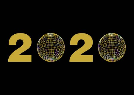 Date 2020 in gold, with the zeros replaced by colorful wire balls on black background. Stok Fotoğraf - 132121655