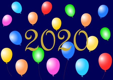 Golden 2020 on midnight blue background decorated with colorful balloons  in landscape format. Imagens