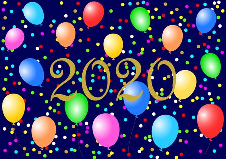 Golden 2020 on midnight blue background decorated with colorful balloons and confetti in landscape format. Imagens - 131951781