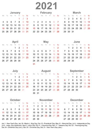 Simple calendar 2021 - one year at a glance - starts Monday with public holidays for the USA in a portrait format